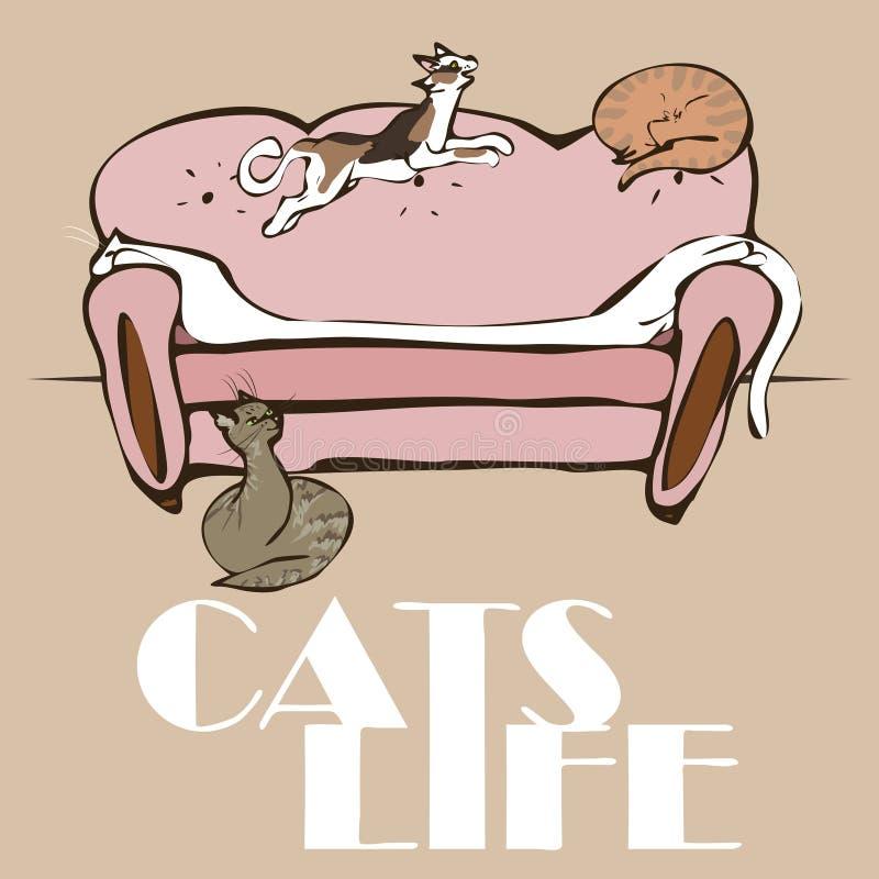 Les chats du vecteur 4 dorment et jouent sur un sofa illustration libre de droits