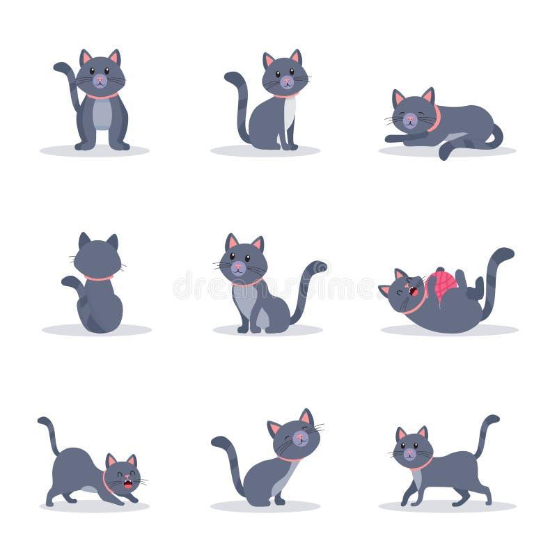 Les chats gris mignons dirigent l'ensemble d'illustrations de couleur illustration libre de droits