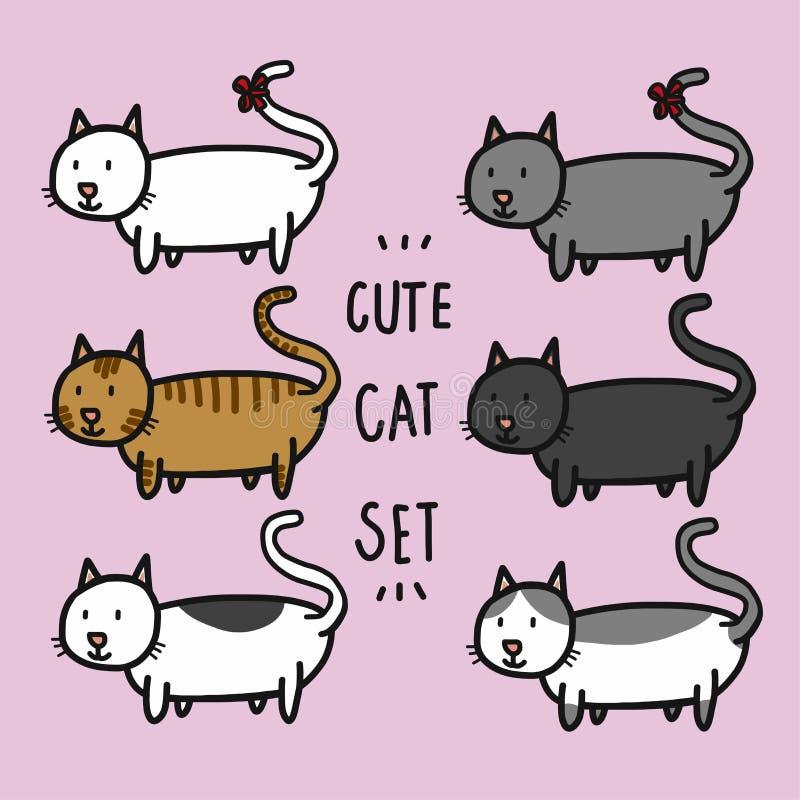 Les chats mignons ont placé l'illustration de vecteur de bande dessinée illustration stock
