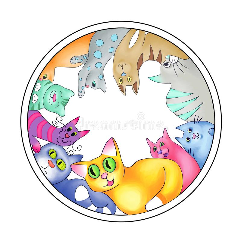 Les chats multicolores ont arrangé en cercle illustration stock