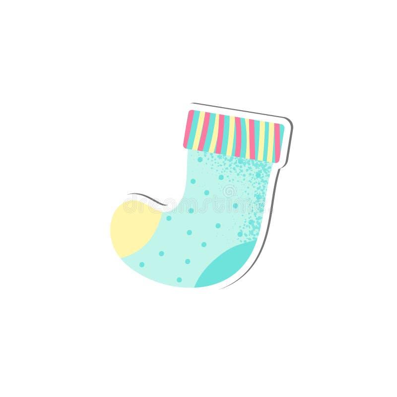 Les chaussettes d'isolement de bébé dirigent dans le style de bande dessinée illustration stock