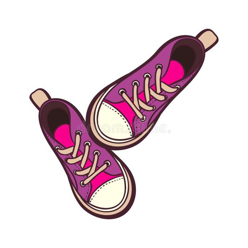Les chaussures d'espadrilles appareillent d'isolement Illustration tirée par la main de vecteur des chaussures pourpres et roses  illustration stock