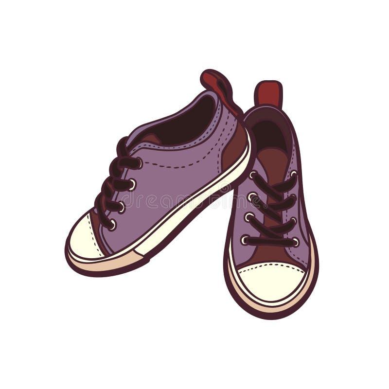 Les chaussures d'espadrilles appareillent d'isolement Illustration tirée par la main de vecteur des chaussures pourpres r illustration libre de droits