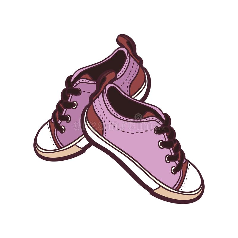 Les chaussures d'espadrilles appareillent d'isolement Illustration tir?e par la main de vecteur des chaussures pourpres Bottes de illustration de vecteur