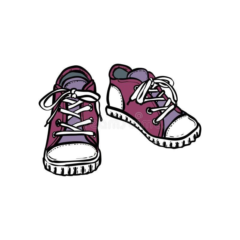 Les chaussures d'espadrilles appareillent d'isolement Illustration tir?e par la main de vecteur des chaussures pourpres Bottes de illustration stock