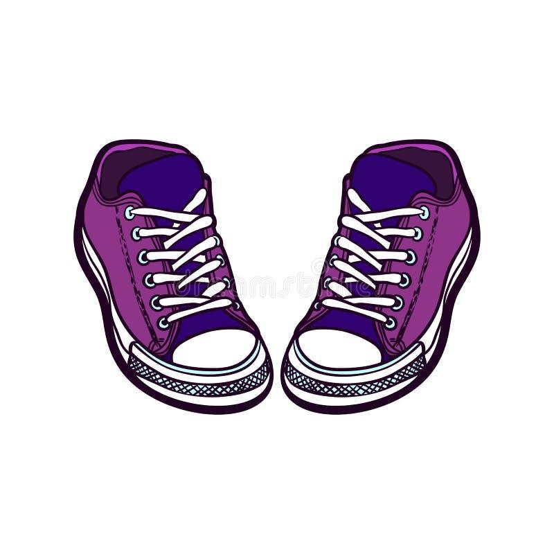 Les chaussures d'espadrilles appareillent d'isolement Illustration tir?e par la main de vecteur des chaussures pourpres r illustration libre de droits