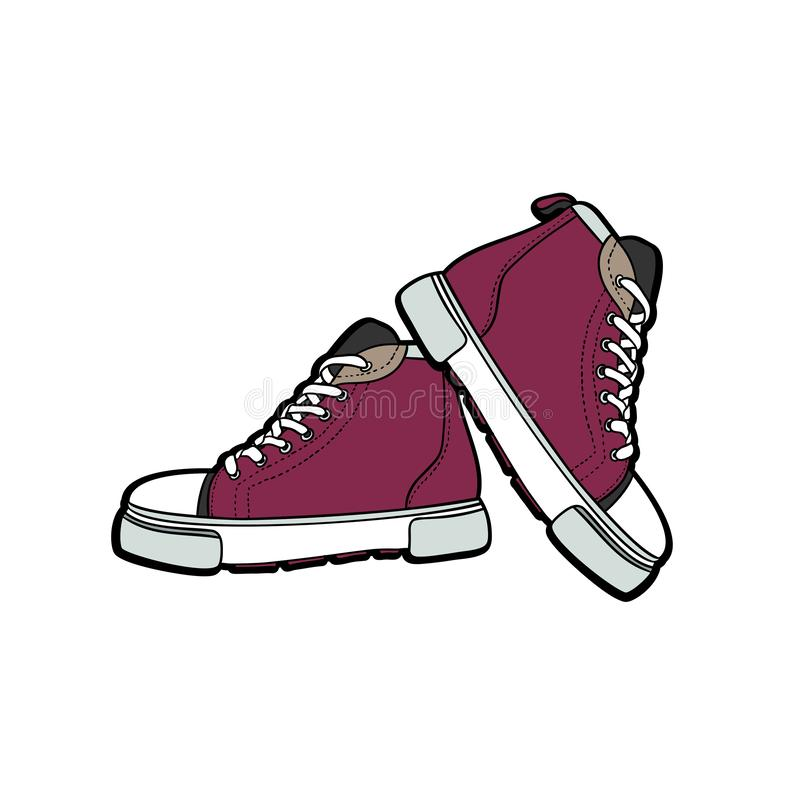 Les chaussures d'espadrilles appareillent d'isolement Illustration tir?e par la main de vecteur des chaussures pourpres r illustration de vecteur