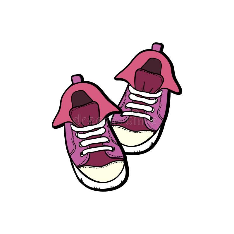 Les chaussures d'espadrilles appareillent d'isolement Illustration tir?e par la main de vecteur des chaussures roses r illustration de vecteur