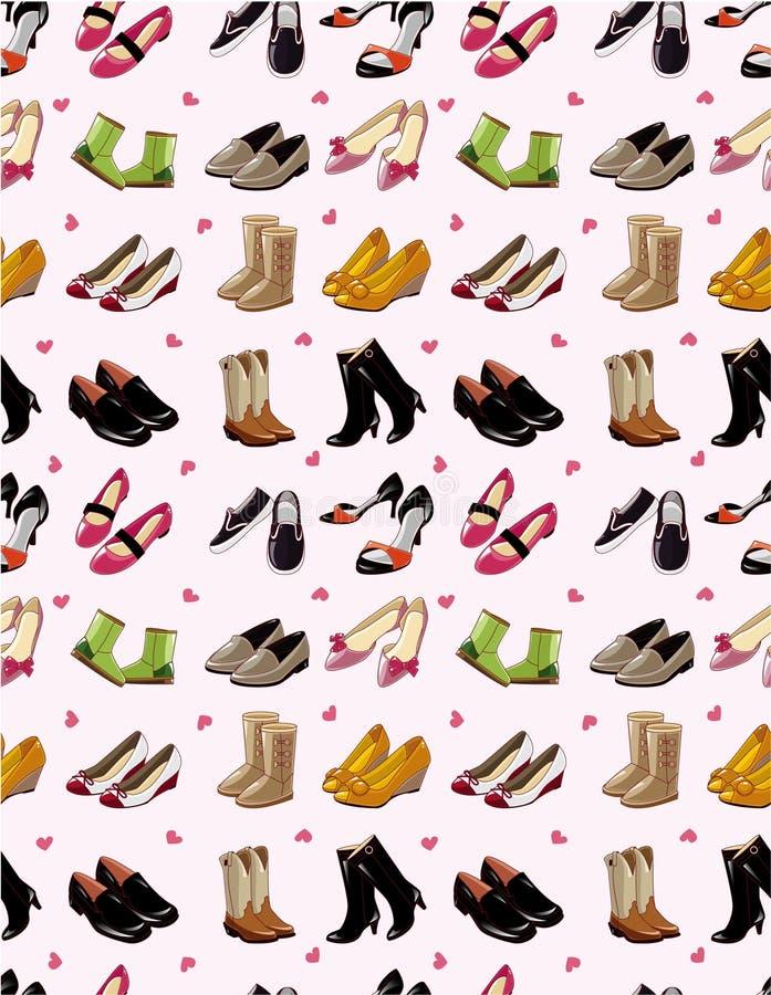 Les chaussures de dessin animé ont placé la configuration sans joint illustration stock