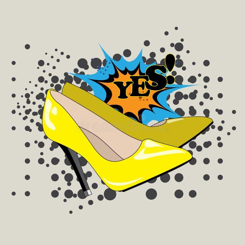 Les chaussures de femmes jaunes illustration de vecteur