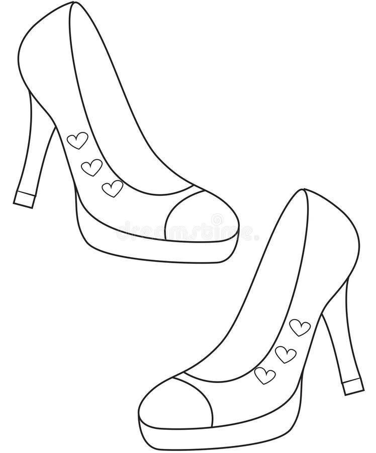 Les chaussures de Madame colorant la page illustration de vecteur