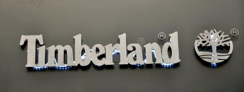 Les chaussures de Timberland stigmatisent le logo photographie stock