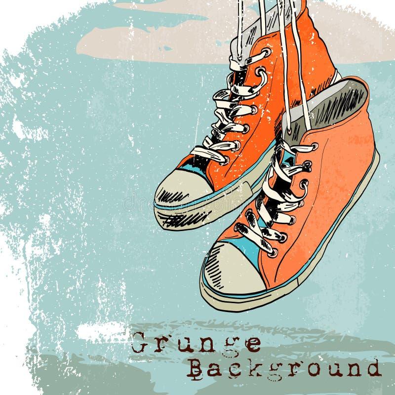 Les chaussures en caoutchouc esquissent accrocher illustration libre de droits
