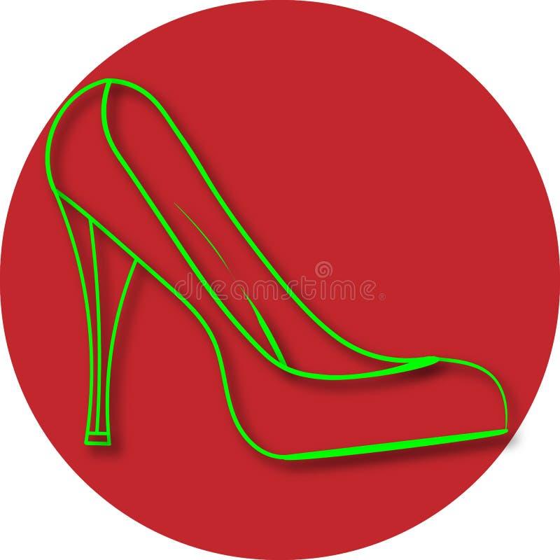 Les chaussures, le fond est rouge illustration de vecteur