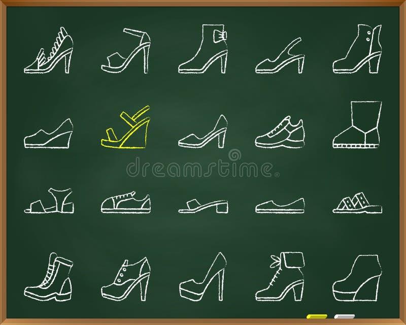 Les chaussures marquent la ligne à la craie grunge ensemble d'aspiration de vecteur d'icônes illustration stock