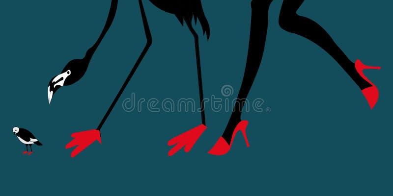 Les chaussures rouges du flamant, de la fille et du petit oiseau illustration libre de droits