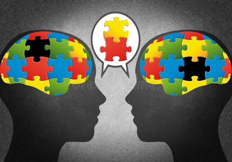 Les chefs avec des puzzles aiment des cerveaux illustration de vecteur