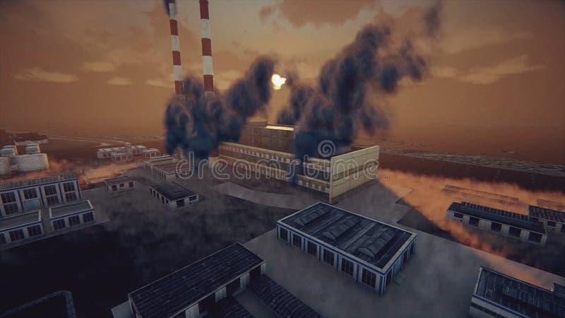 Les cheminées de tabagisme de l'usine et de l'usine abstraite dans le brouillard enfumé épais, les problèmes écologiques et le co illustration stock