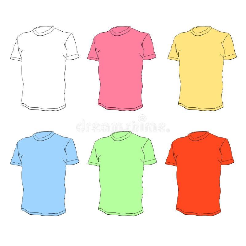 Les chemises de té dirigent des descripteurs illustration de vecteur