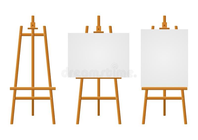 Les chevalets en bois ou l'art de peinture embarque avec la toile blanche de différentes tailles E illustration de vecteur
