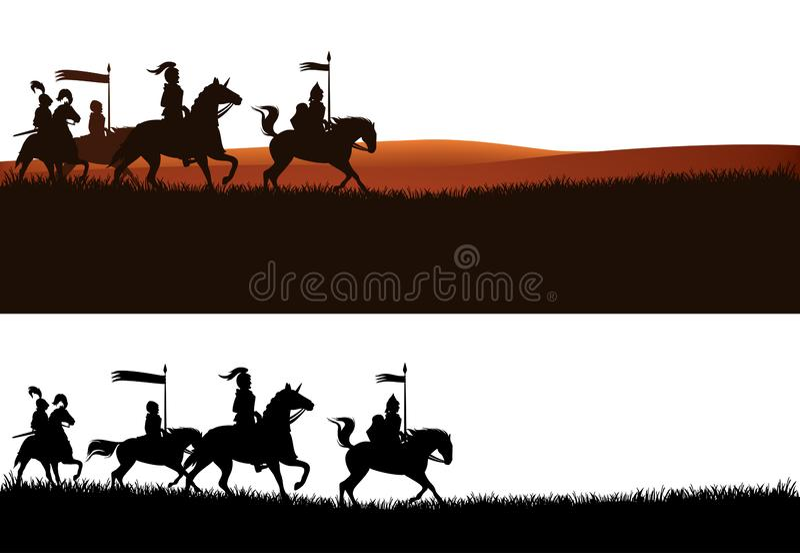 Les chevaux d'équitation de chevaliers dirigent le panorama de silhouette illustration libre de droits