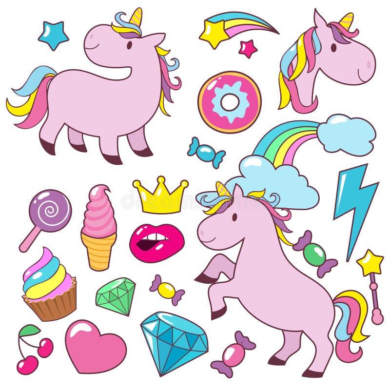 Les chevaux mignons magiques de bébé de licornes dirigent la collection de caractère illustration stock