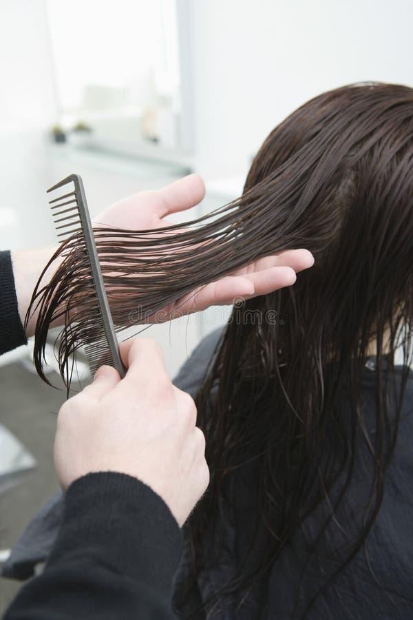 Les cheveux de Combing Female Client de coiffeur images stock