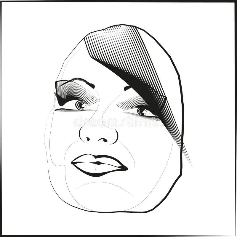 Les cheveux de visage de lèvres de yeux de vecteur d'ensemble de croquis regardent oblique illustration de vecteur