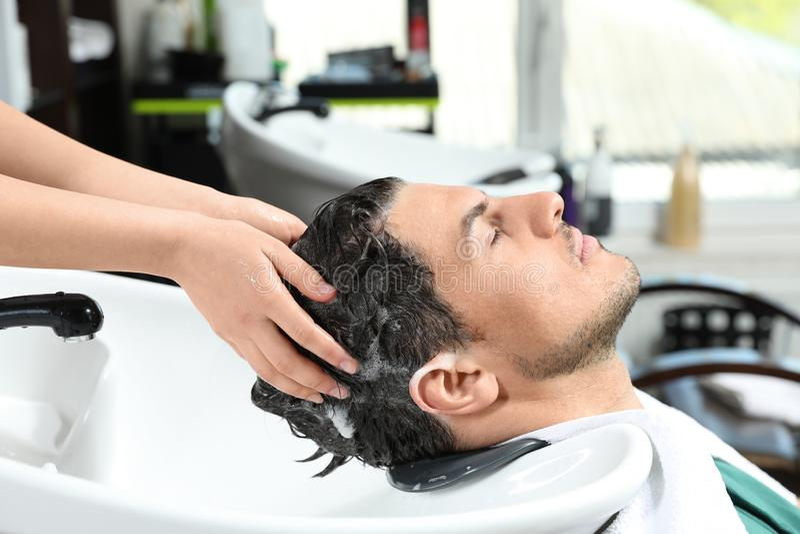 Les cheveux du client de lavage de styliste à l'évier dans le salon photo libre de droits