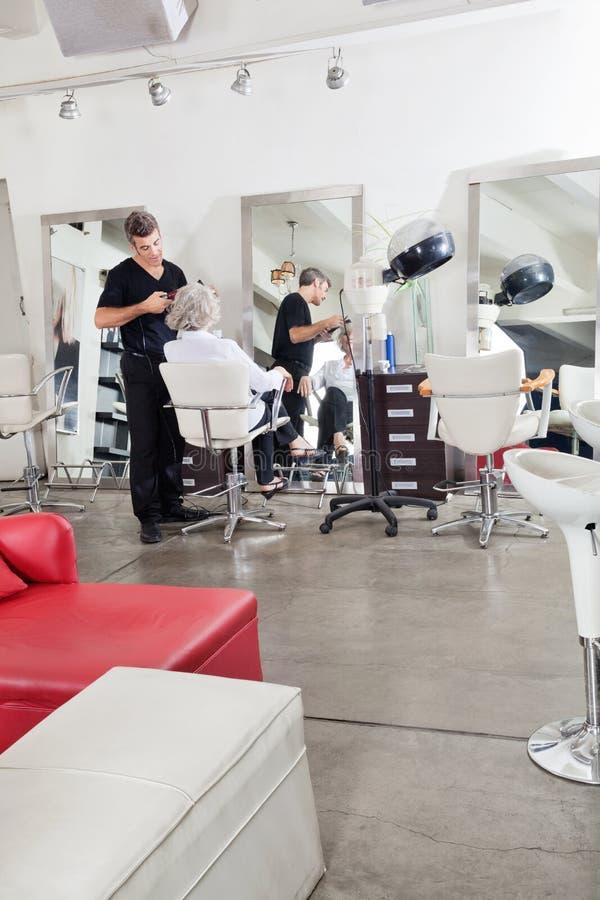 Les cheveux du client repassant de styliste en coiffure photo libre de droits