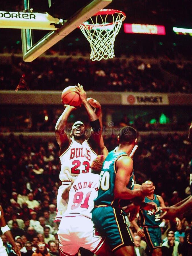 Les Chicago Bulls de Michael Jordan photographie stock libre de droits