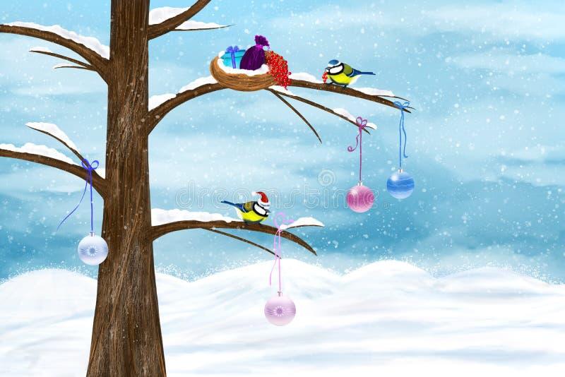 Les Chickadees célèbrent Noël illustration de vecteur