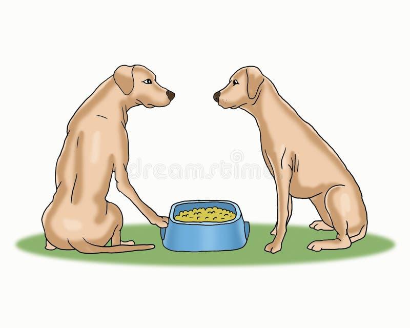 Les chiens mignons partagent la bande dessinée de nourriture photographie stock