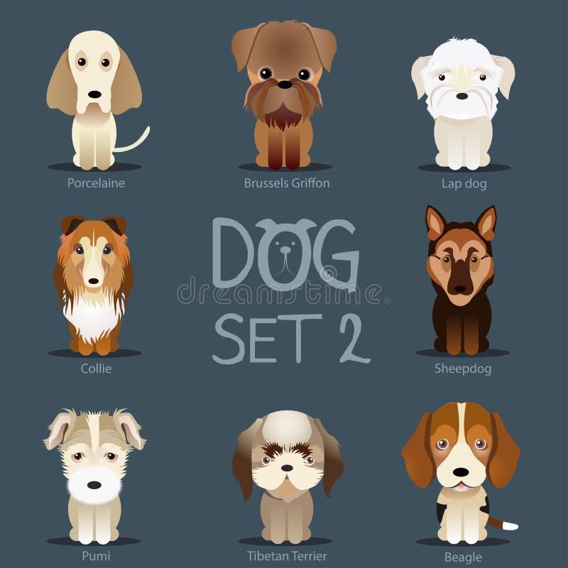 Les chiens ont placé 2 Race de vecteur des chiens illustration de vecteur