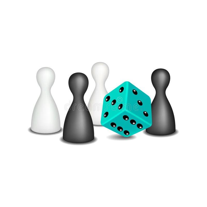 Les chiffres de jeu de société en conception noire et blanche et turquoise découpent illustration de vecteur