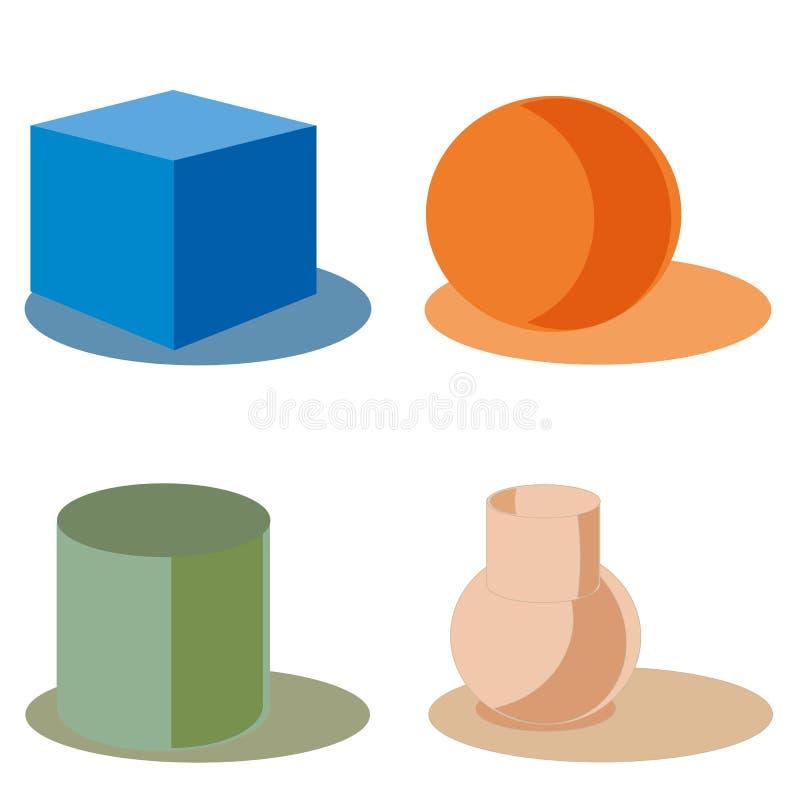 Les chiffres géométriques de couleur forment le vert moderne de silhouette de signe illustration stock