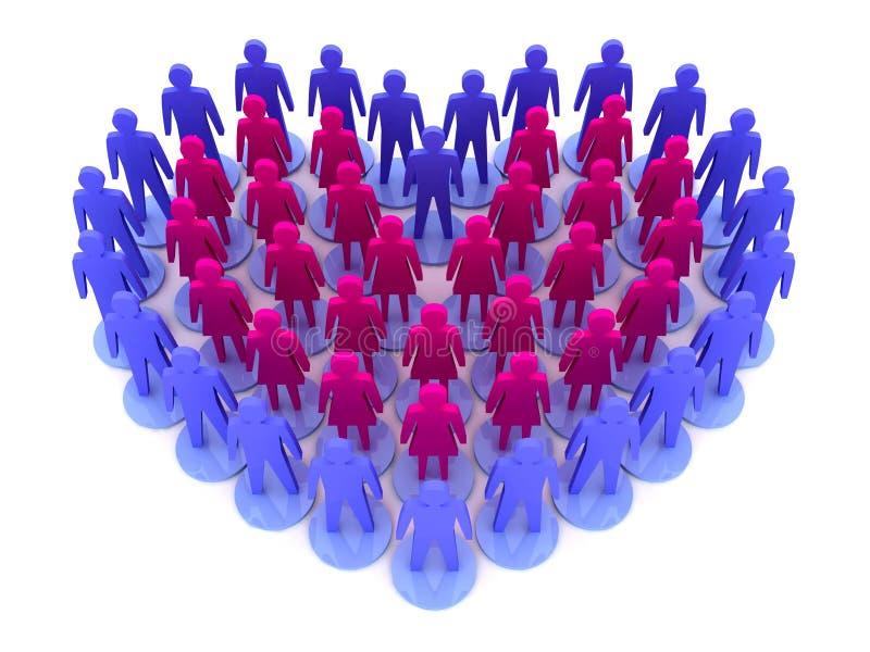Les chiffres mâles et femelles forment le coeur. illustration de vecteur