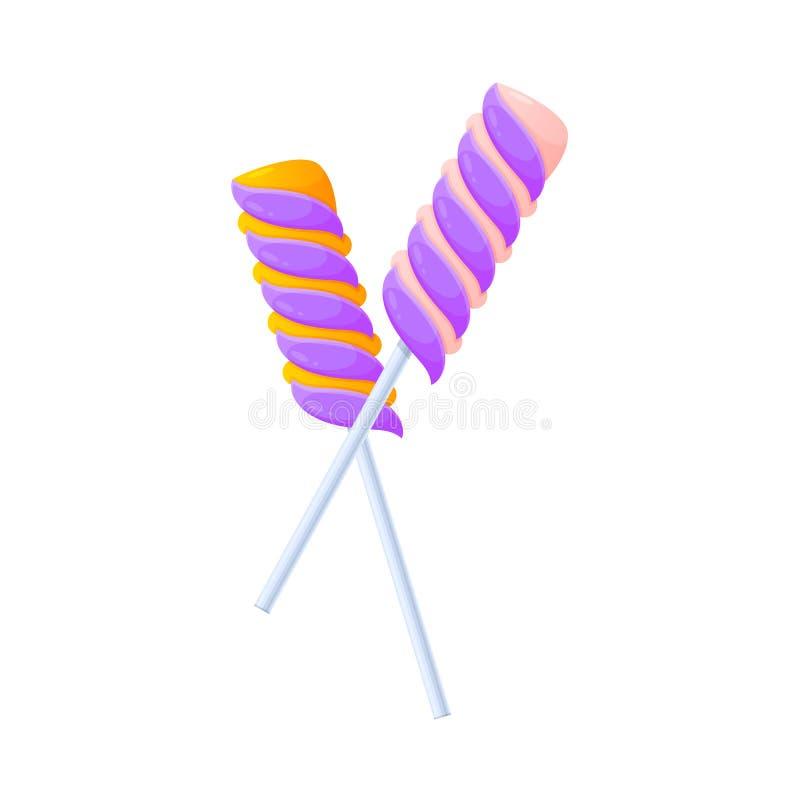 Les chocolats sucrés, desserts, ont assorti la nourriture délicieuse Sucrerie colorée, bonbons tordus illustration libre de droits