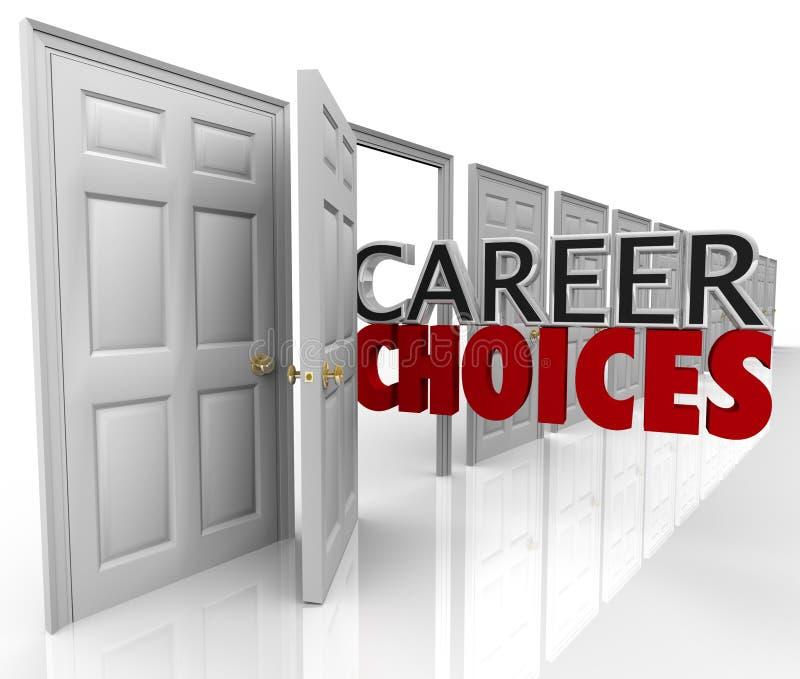 Les choix de carrière exprime beaucoup de travaux de possibilités de trappes illustration libre de droits