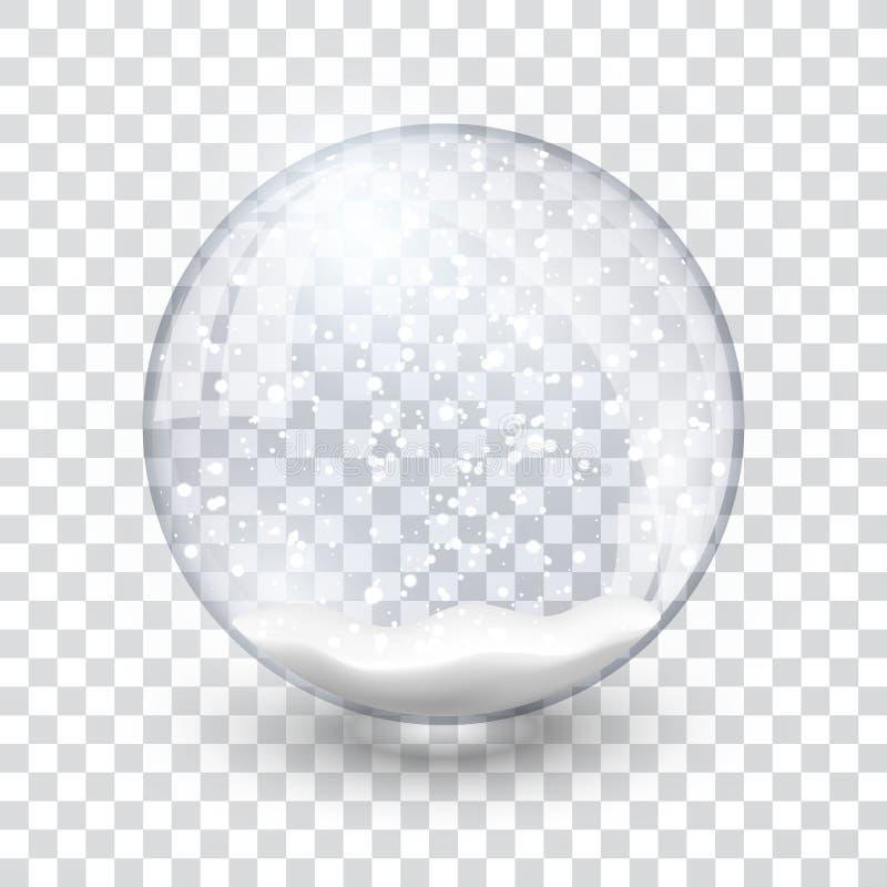 Les chrismas réalistes de nouvelle année de boule de globe de neige objectent d'isolement sur le fond transperent avec l'ombre, i illustration libre de droits