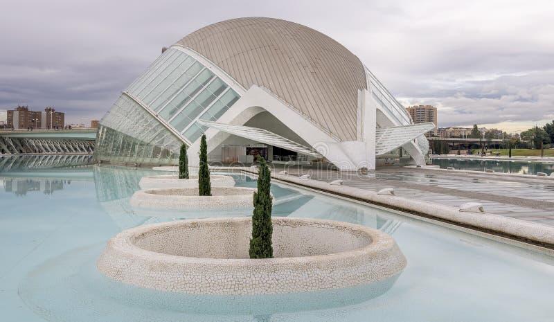 Les Ciències, Valencia, Spagna di Ciutat de les Arts i fotografie stock libere da diritti