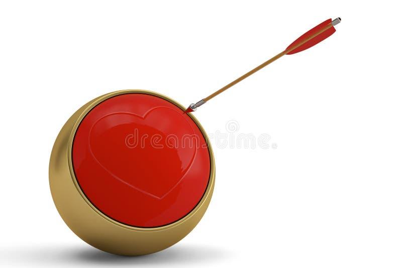 Les cibles de coeur de rouge avec la flèche sur l'illustra blanc du fond 3D illustration stock
