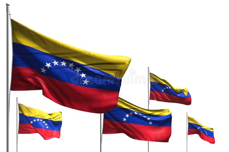 Les cinq drapeaux mignons du Venezuela sont vague d'isolement sur blanc - n'importe quelle illustration du drapeau 3d de célébr illustration de vecteur