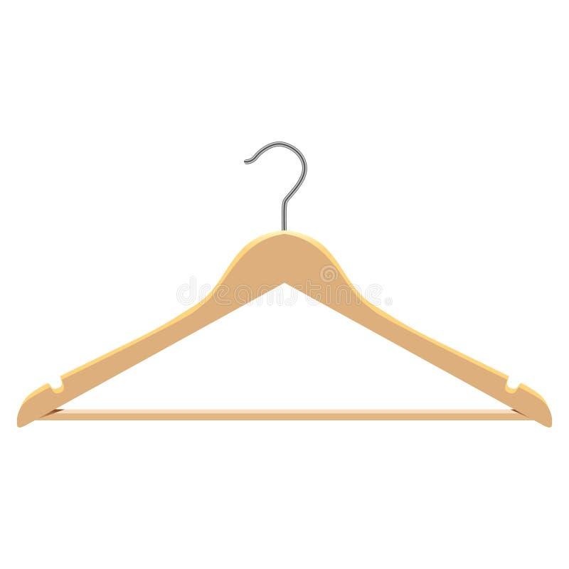 Les cintres en bois de vêtements réglés pour des vestes halète l'illustration d'isolement du vecteur 3d illustration libre de droits