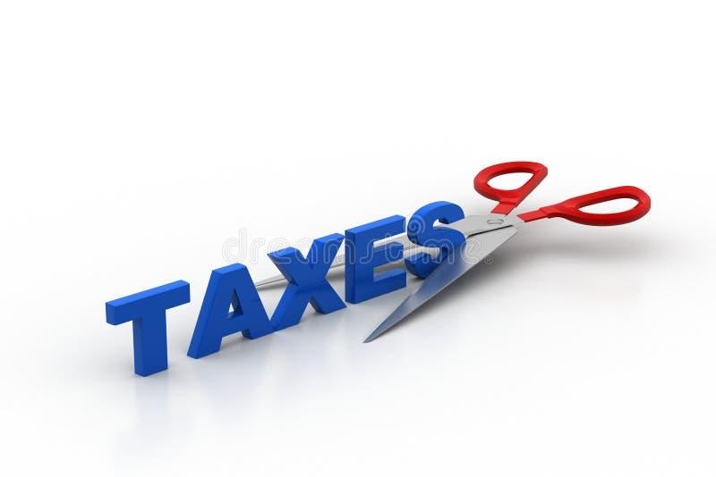 Les ciseaux ont coupé les impôts de mot illustration stock