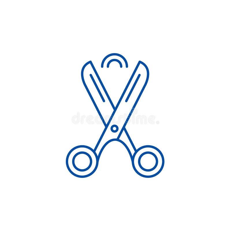 Les ciseaux rayent le concept d'icône Symbole plat de vecteur de ciseaux, signe, illustration d'ensemble illustration de vecteur