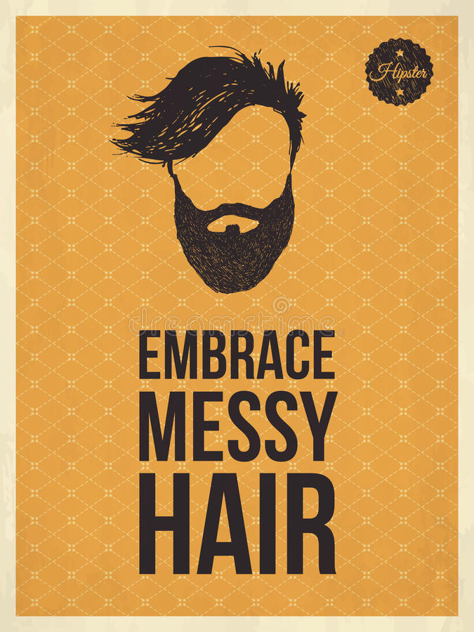 Les citations à la mode de regard de vintage de hippie, embrassent les cheveux malpropres illustration libre de droits