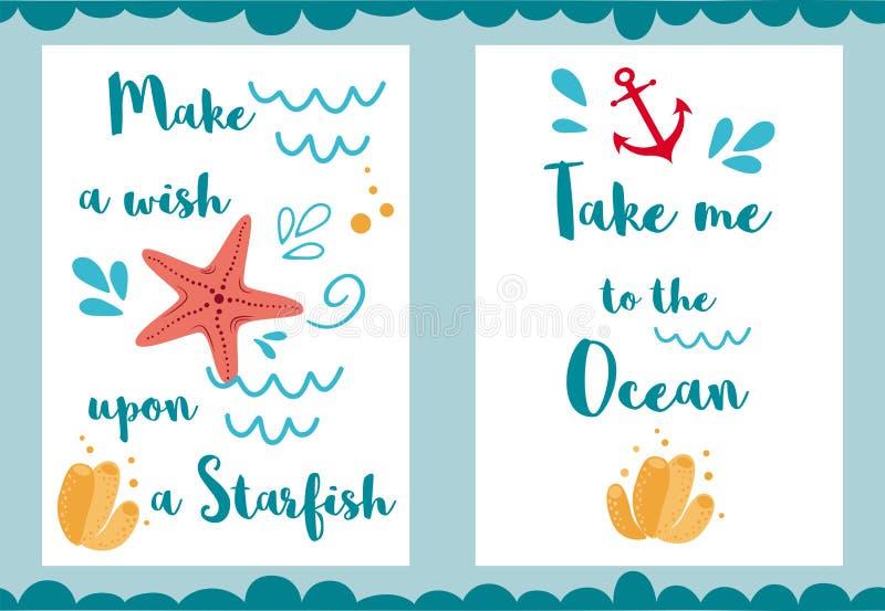 Les citations de vacances me portent à la grande copie de inscription d'océan pour le vecteur d'éléments de mer d'affiches de car illustration libre de droits