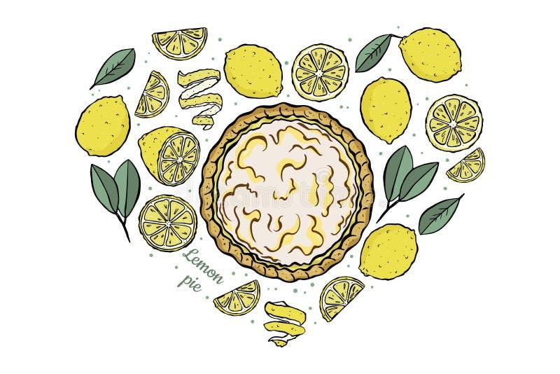 Les citrons de coeur ouvrent le tarte de citron illustration de vecteur