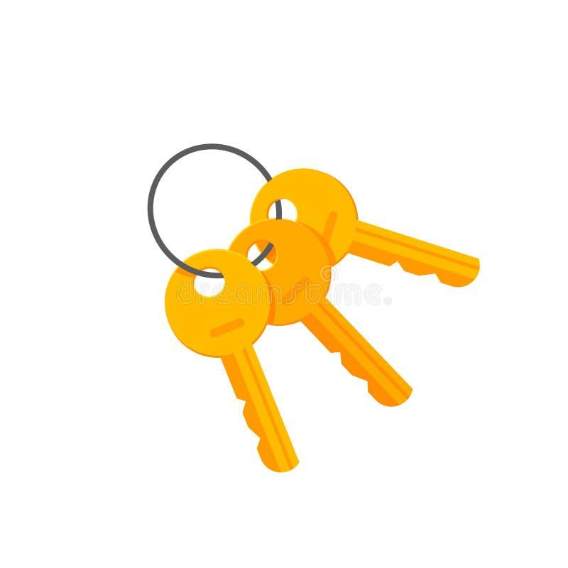 Les clés de porte ou de cadenas sur le porte-clés dirigent l'illustration illustration stock